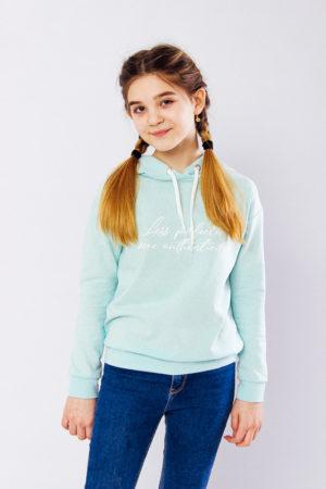 Худи для девочки (подростковый) мятный - 122 см