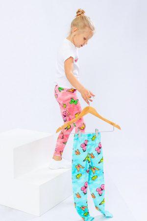 Лосины для девочки мятные с бабочками - 110 см