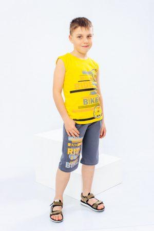 Комплект для мальчика (афганка+шорты) – желтый – 128 см