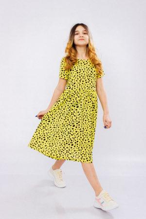 Платье для девочки подростковое желтое - 140 см