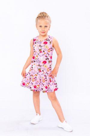 Платье для девочки розовое с рюшей - 110 см