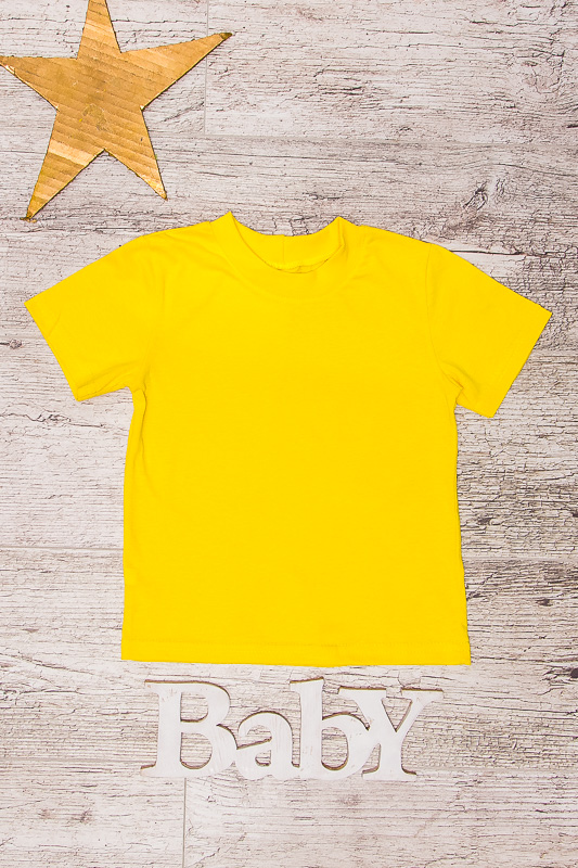 Детская однотонная футболка -желтая - 140 см