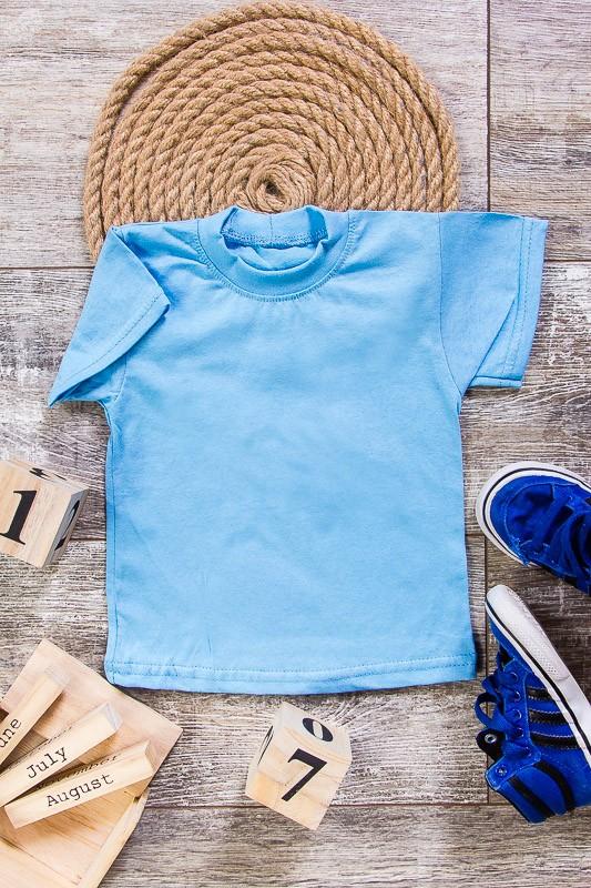 Детская однотонная футболка -голубая - 140 см
