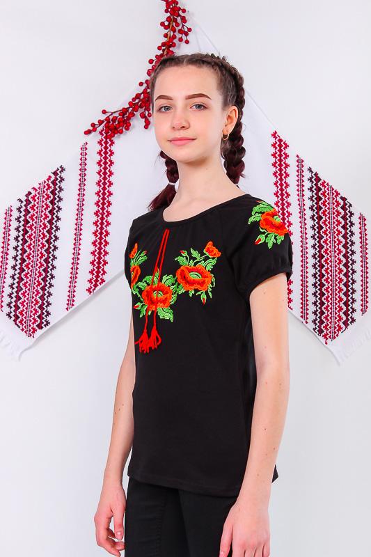Вышиванка для девочек с коротким рукавом 6111-015-22