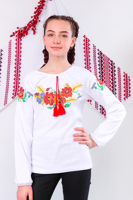 Вышиванка для девочки с длинным рукавом 6112-038-22