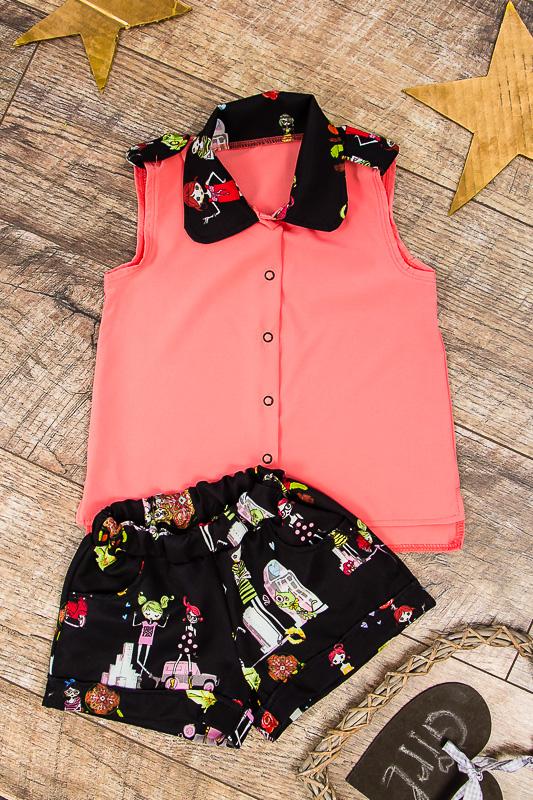 Комплект для девочки (блуза+шорты) 6115-078