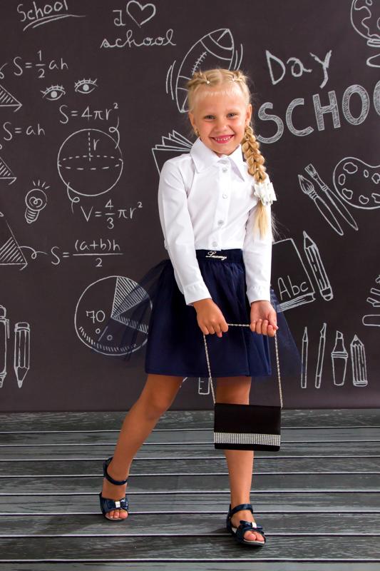 Юбка школьная с фатином 6144-066