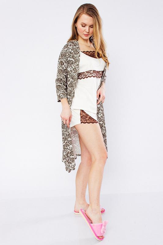 Комплект женский (халат+майка+шорты) 8022-002