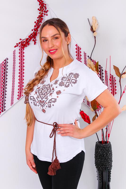Вышиванка женская с коротким рукавом 8029-038-22-1