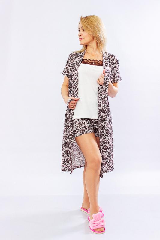 Комплект женский (халат+топ+шорты) 8074-002