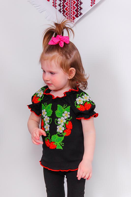 Вышиванка для девочек с коротким рукавом 9722-015-22