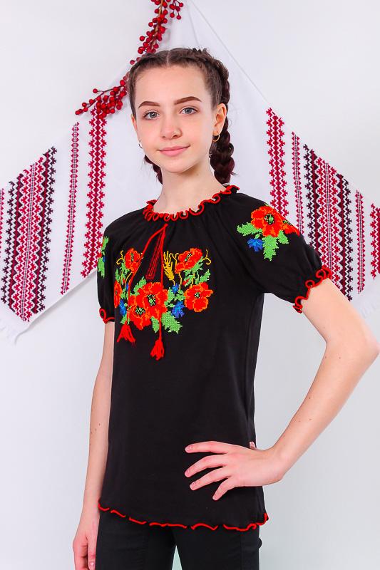 Вышиванка для девочек (подростковая) с коротким рукавом 9784-015-22